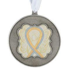 Gray and Gold Awareness Ribbon Angel Ornament