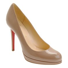 "Christian Louboutin beige blush patent calfskin New Simple platform pumps. 4.75"" (120mm) heel; 13mm platform (approximately). Tapered toe; patent"