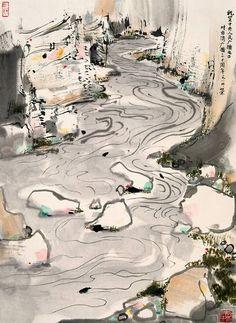 Wu Guanzhong, river painting, via COM. Asian Landscape, Chinese Landscape Painting, Chinese Painting, Landscape Paintings, Landscapes, River Painting, Japan Painting, Ink Painting, Painting Gallery