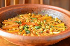 Moroccoan Vegetarian Tagine with Carrots and Chickpeas