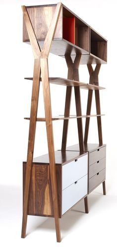 Open modular #bookcase with drawers DIXON by Dare Studio | #design Sean Dare