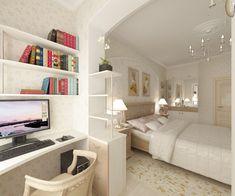 Рабочее место на балконе, обїединенном со спальней