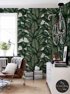 Banana Leaf Tapete, Bananenblätter, Zeichnung tropischen Wandbild, abnehmbare Tapete, Wand-Wandbilder, tropischen, fototapete #40
