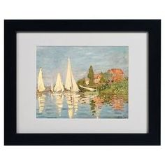 Giclee of Monet's Regatta at Argenteuil in a black frame.  Product: Framed wall artConstruction Material: Wood, paper and acrylicColor: Black frameFeatures:  Reproduction of original art by Claude MonetMade in the USABeautiful giclee print