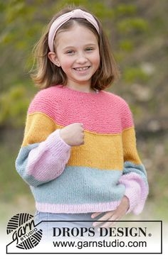 Candy Bar Jumper - Knitted jumper for children with stripes in DROPS Air, Nepal or Paris. The piece is worked in the round, top down with round yoke and raglan. Baby Knitting Patterns, Jumper Patterns, Knitting For Kids, Free Knitting, Crochet Patterns, Finger Knitting, Knitting Tutorials, Drops Design, Knitting Gauge