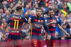 Rafinha of FC Barcelona is congratulated by his teammates Neymar Santos Jr and Dani Alves after scoring his team's fourth goal during the La Liga...