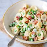 DeLallo Italian Recipes | Orecchiette with Peas, Pancetta & Cream