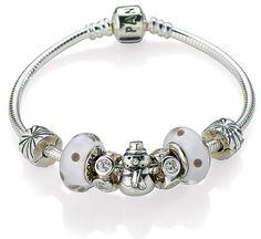Pandora Bracelet with snowman.