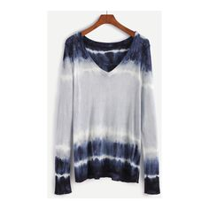 SheIn(sheinside) Multicolor Deep V Neck Tie Dye Sweater ($24) ❤ liked on Polyvore featuring tops, sweaters, multicolor, v-neck pullover sweater, tie dye sweater, low v neck sweater, sweater pullover and loose sweater