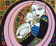 Madonna con bambino (Mmadonna and child), acrylic on canvas, 50x70cm, 2009