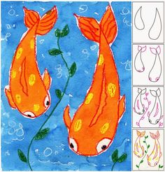 Koi Fish Painting. Watercolor and crayon resist.
