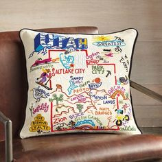 THE UNITED STATES IN PILLOWS - From sea to shining sea.Celebrate great states (like Utah, for example) with cotton pillows meticulously hand embroidered with classic locales and kitschy monuments. Cotton Bedding, Cotton Pillow, Unique Clothes For Women, Condo Decorating, Diy Interior, Decoration, Furniture Decor, Decorative Pillows, Diy Crafts
