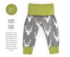 009 Eden Baggy Harem Pants PDF Sewing Pattern Baby Kid Boy Girl Leggings Knit Fold Over Waist Preemie- 6T Sadi & Sam