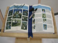 Open Book Cake. Edible image photo pages, fondant bookmark and sharpie. Garduation 2012