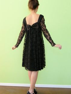 Black Lace Babydoll Dress Vintage 1960s Cocktail Mini by MetricMod