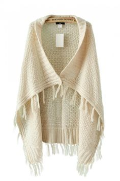 Cream-colored Sleeveless Tassels Sweater