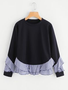 SheIn offers Contrast Striped Frill Trim Sweatshirt & more to fit your fashionable needs. Sewing Clothes Women, Clothes For Women, Look Fashion, Fashion Outfits, Fashion Design, Fashion Shirts, Trendy Outfits, Fashion Trends, Mode Kawaii