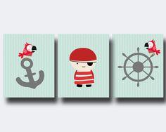 Pirate Nursery Wall Print, Anchor Pirate and Ship Wheel Wall Art Prints, Pirate…
