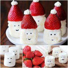 3 ingredients Santa Hat Marshmallow Snacks--> http://wonderfuldiy.com/wonderful-diy-adorable-strawberry-santas/