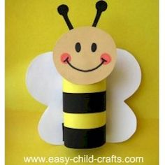 Cardboard Tube Spring Bee Craft; I think I'll just use yellow/black papers, make the tube out of one and stipe with the other. No need for the extra tubes or to have to cover it. Love, love, love the smiley face.
