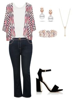"""Look Fabiana Karla Encontro"" by thamiresgiglio on Polyvore featuring moda, Samoon, M&Co, navabi, EF Collection, Escalier, Blue Nile e Sam Edelman"