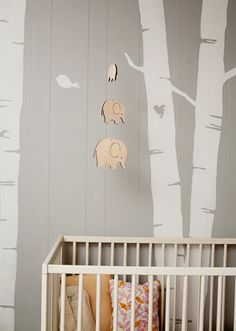 Elephant Modern Baby Mobile and wall