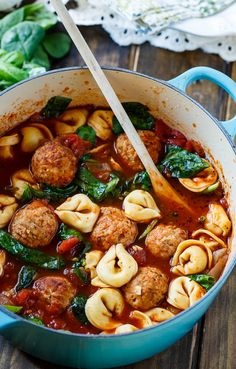 Meatball and Tortellini Soup with spinach. A quick and easy weeknight meal made with frozen Johnsonville meatballs. #ad