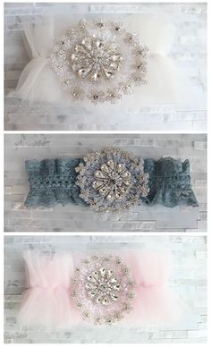 Chanel  Delicate tulle frills adorned with swarovski crystals, silver beads and soft pearls. Tulle comes in any color of your choice. A toss garter is included adorned with a crystal centering.