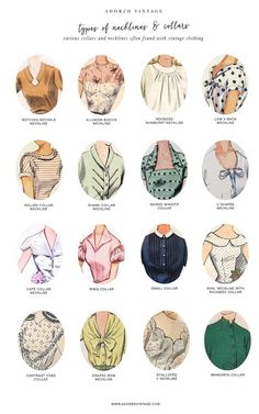 Guide to Vintage Collars and Necklines*You can find the Guide to Vintage Sleeves here.Do you shop vintage? Here's a good reference infographic for collars and necklines found on vintage garments.You can find the Guide to Vintage Collars and. Vintage Outfits, Vintage Dresses, Fashion Vintage, 1950s Dresses, Vintage Fashion Sketches, 1940s Fashion Women, Dresses Art, 1950s Fashion Dresses, Vintage Fashion 1950s