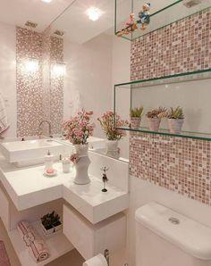 Glass bathroom - 40 The Best Bathroom Glass Shelves Design Ideas Bathroom Design Small, Bathroom Interior Design, Modern Bathroom, Interior Design Living Room, Interior Decorating, Kitchen Interior, Pink Home Decor, Glass Bathroom, Mosaic Bathroom