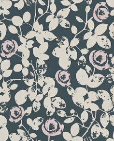 Crispy Roses (395043) - Brewers Wallpapers - A beautiful all over stylised rose vine design with matt stone weathered leaves and pale pink flowers on a deep black background. Paste the wall. Please request sample for true colour match.