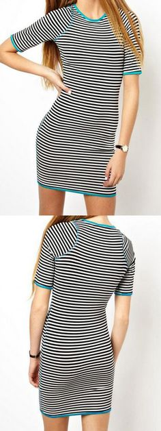 Stripe dress is always in fashion. U can wear it casually anywhere.