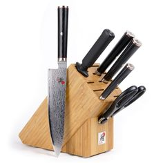 Zwilling J.A. Henckels Miyabi Kaizen Series 7 Pc Knife Block Set  Miyabi Kaizen Knives feature a VG-10 steel protected by a 64-layer stunning Damascus pattern. The CRYODUR process gives the steel hardness for blade retention, flexibility, and highly corrosion resistant. The Katana edge is hand-finished in the traditional 3-step Honbazuke method. To deliver the outstanding performance, the blade is set at the traditional Japanese blade angle of 9.5 to 12° on each side, which results in a...