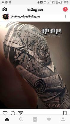 # - Land of Tattoos Cool Tattoos For Guys, Badass Tattoos, Map Tattoos, Body Art Tattoos, Travel Tattoos, Arrow Tattoos, Tattoo Sleeve Designs, Sleeve Tattoos, Tattoo Rose Des Vents