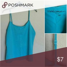 3 for $15 🌟 Halogen Turquoise Cami Spaghetti strap style tank in turquoise. Adjustable straps, shaped to the body and just slightly scooped neckline - perfect for layering!   Only worn a few times - excellent pre-owned condition.  🌟 Pick any three items in my closet $7 or less, bundle for only $15. Just let me know your choices and I will create the listing Halogen Tops Camisoles
