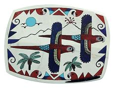 Ruddell, Nancy Laconsello, Buckle, Two Parrots, Silver, Zuni Handmade, 1.5