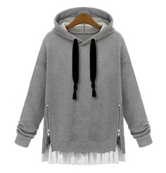 Fashion loose hooded fleece pullover…