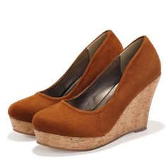 Suede Leather Platform High Heels Slip On Creepers Big Plus Large Size 41 42 Best Seller Women Pumps Dress Shoes Wedges Cork