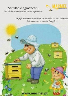 Dia do Pai Apicultor #abelhas #apicultura #presentes #colmeias #abejas #colmenas #padre Family Guy, Marketing, Fictional Characters, Hives Causes, Bees, Presents, World, Beekeeping