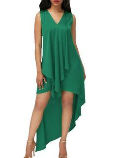 Sleeveless Asymmetric Hem V Neck Green Dress Tight Dresses, Sexy Dresses, Casual Dresses, Short Dresses, Club Dresses, Summer Dresses, V Neck Black Dress, V Neck Dress, Blue Chiffon Dresses
