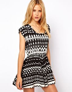 Playsuit in Monochrome Print - Lyst
