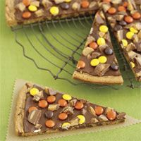 Peanut Butter Cookie Pizza- (there is also a version without the peanut butter) great Halloween or Fall treat!