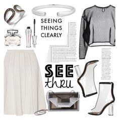 """""""It's All Clear Now"""" by blossom-jewels ❤ liked on Polyvore featuring Elie Saab, Yves Saint Laurent, Gucci, Benefit, clear, contestentry, Seethru and Blossomjewels"""