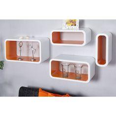 Moderne wandkubus Regal Club Cube 4 delige set oranje wit - 18050