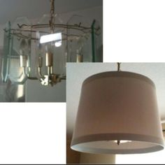 Update an outdated light fixture Before and After Pictures Remove the glass panels and replace with a drum lamp shade.