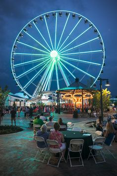 The Great Smoky Mountain Wheel lights up the sky in Pigeon Forge, Tennessee