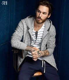 David Alexander Flinn models nautical styles that are decorated with anchors and stripes.