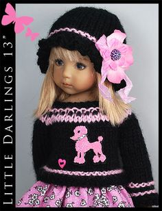 """Black & Pink ** Outfit for Little Darlings Effner 13"""" by Maggie & Kate Create"""