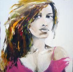 noir et rose - Peinture, 100x100 cm ©2009 par Christian Vey -