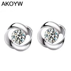 Silver plated rotating female models love lovely wild high-grade crystal earrings fashion vintage jewelry super flash jewelry